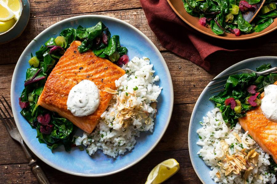 Salmon with greens, lemon-dill yogurt, and herbed rice