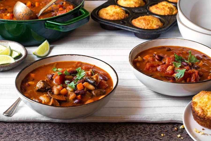 Two bean–mushroom chili with gluten-free cornbread