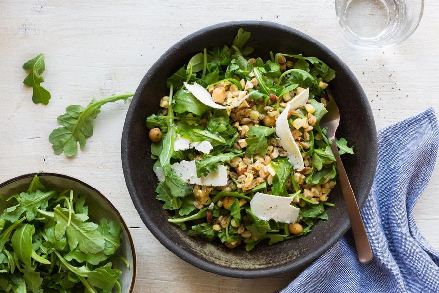 Corn and farro salad with spiced chickpeas