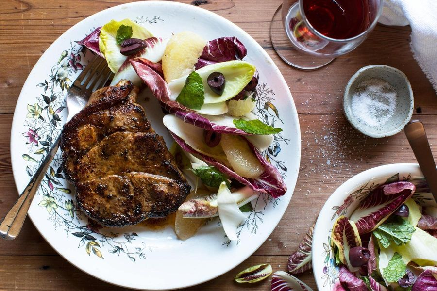 Harissa pork blade steaks with grapefruit salad