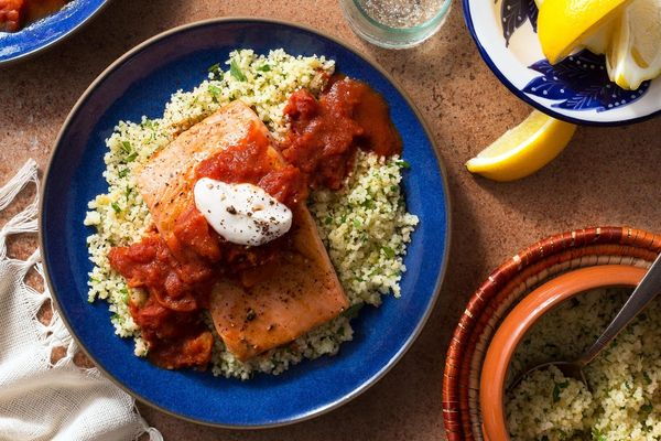 King salmon in chraime sauce with mint couscous and lemon yogurt