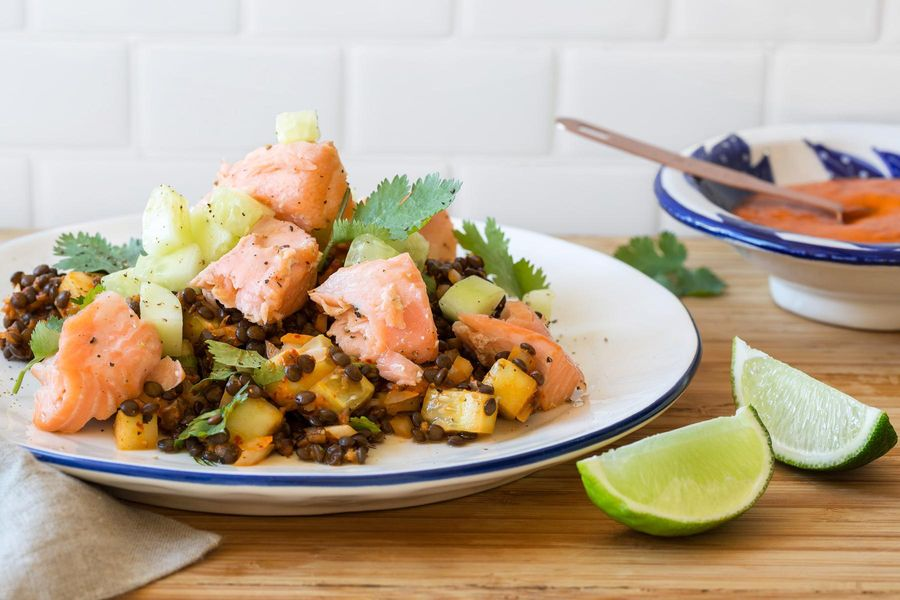 Roasted salmon with black lentil salad and diablo sauce