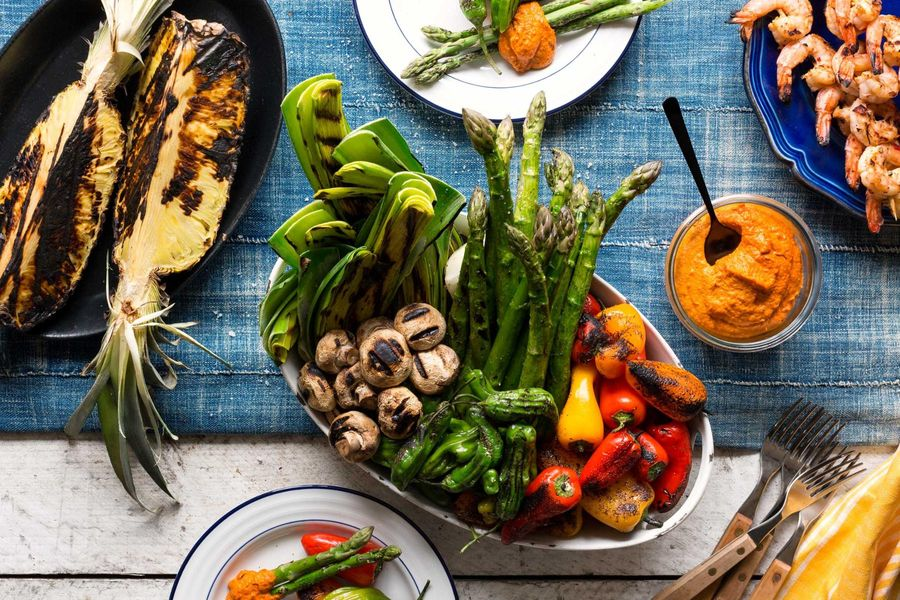 Grilled summer vegetables with romesco