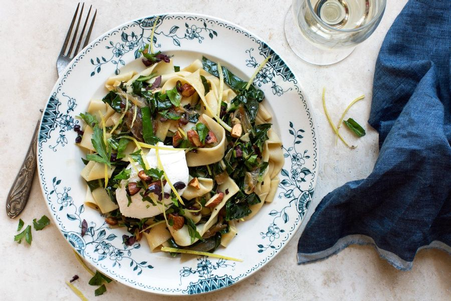 Pappardelle and collard greens with almond-olive relish