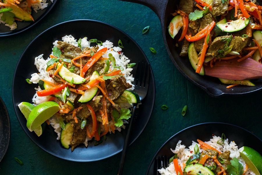 Vietnamese steak stir-fry with jasmine rice