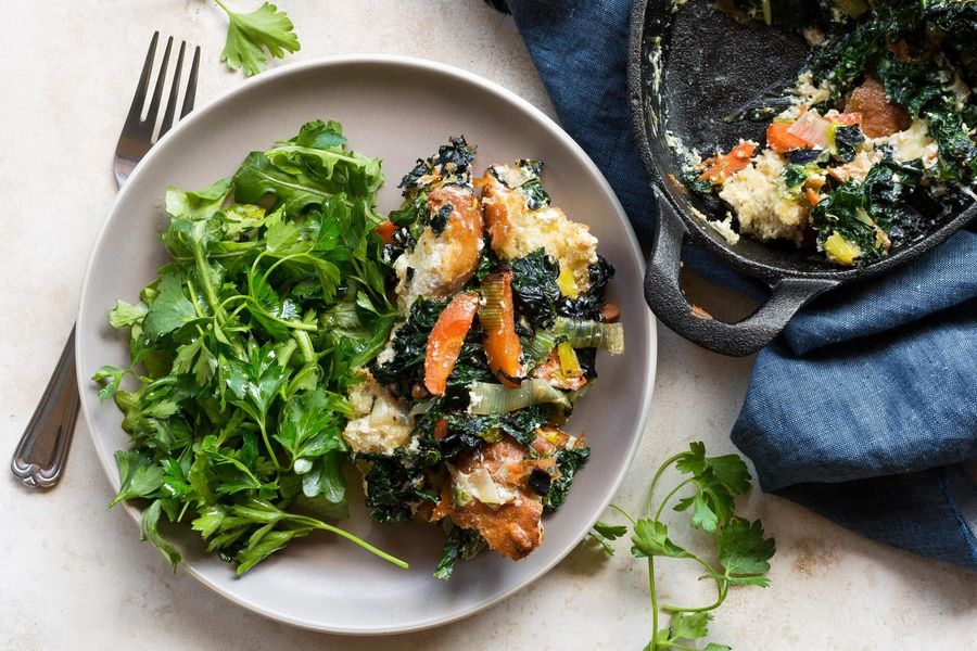 Kale, ricotta, and carrot gratin with parsley-arugula salad