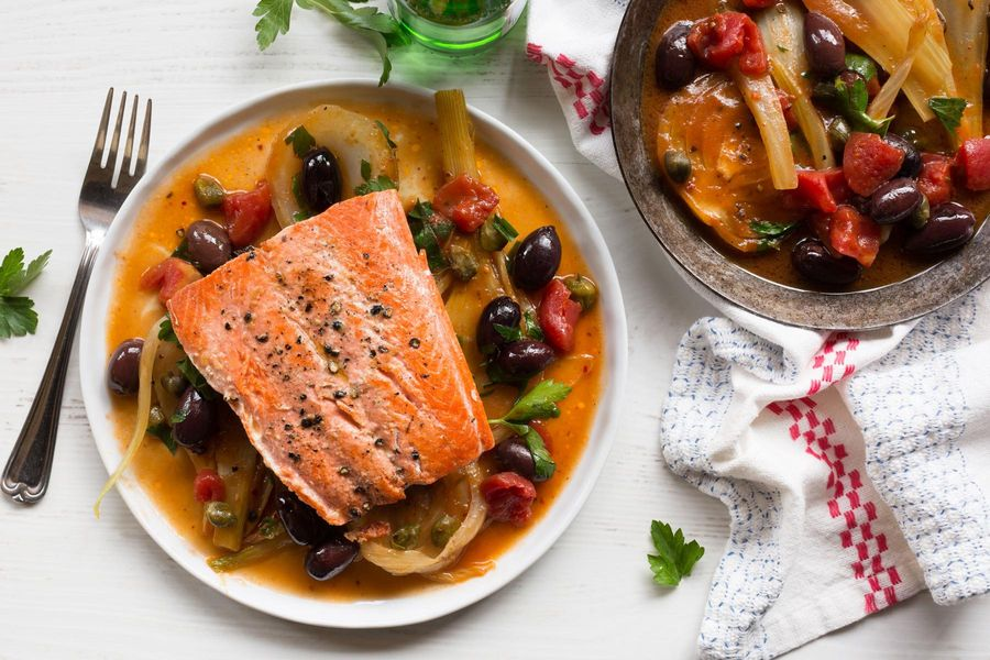 Pan-seared salmon with fennel, capers, and olives