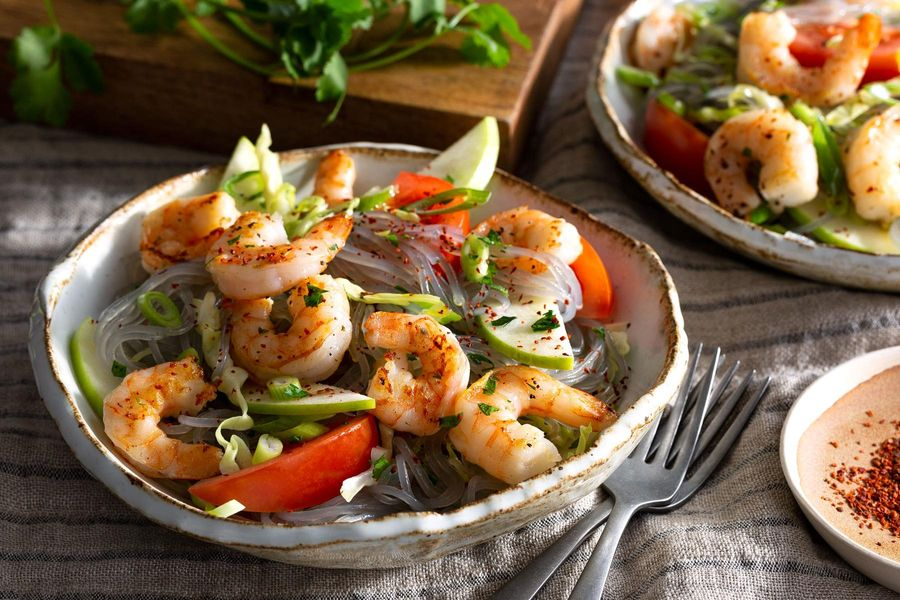 Shrimp and glass noodle salad with lime vinaigrette