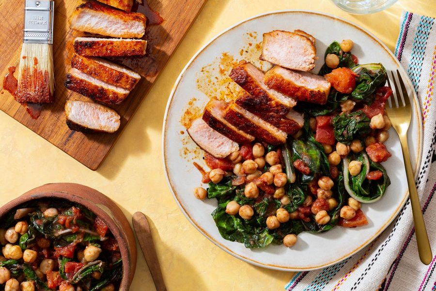 Honey-harissa pork chops with spiced chickpeas and chard
