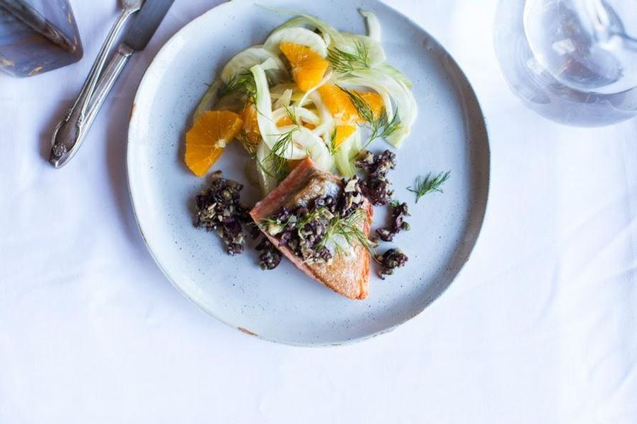 Grilled fish with artichoke tapenade and fennel-orange salad