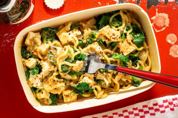 Spicy Sichuan dan dan noodles with tofu and kale