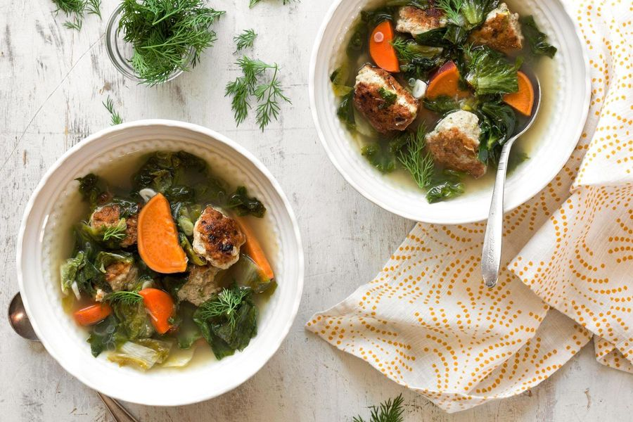 Italian meatball soup with sweet potatoes and escarole
