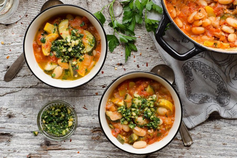 White bean stew with summer squash and parsley pesto
