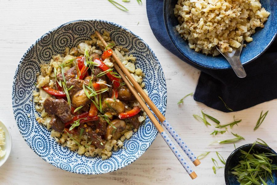 "Steak teriyaki with cauliflower ""rice"""