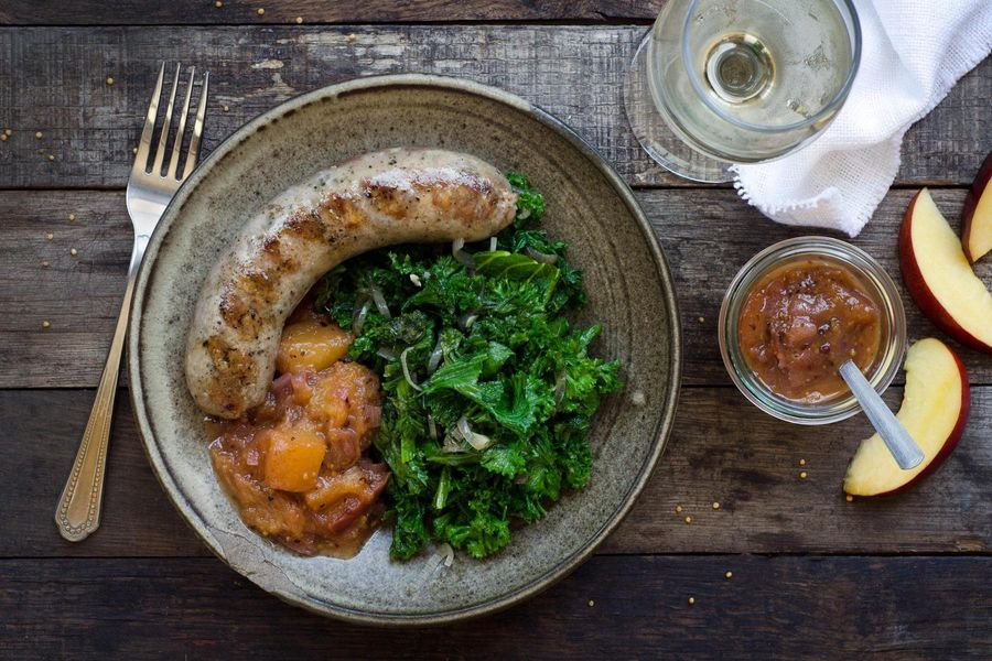 Grilled sausages with nectarine mostarda