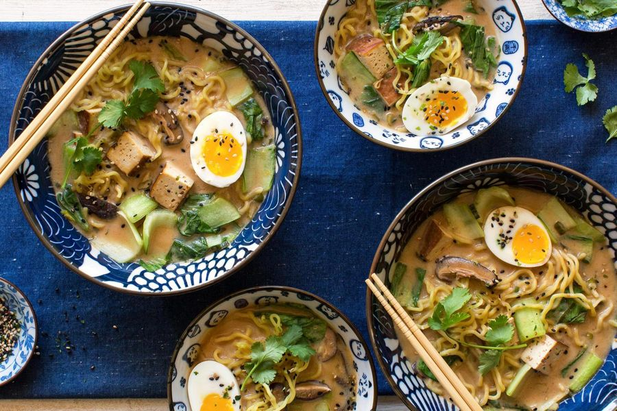 Miso ramen bowls with braised tofu and bok choy