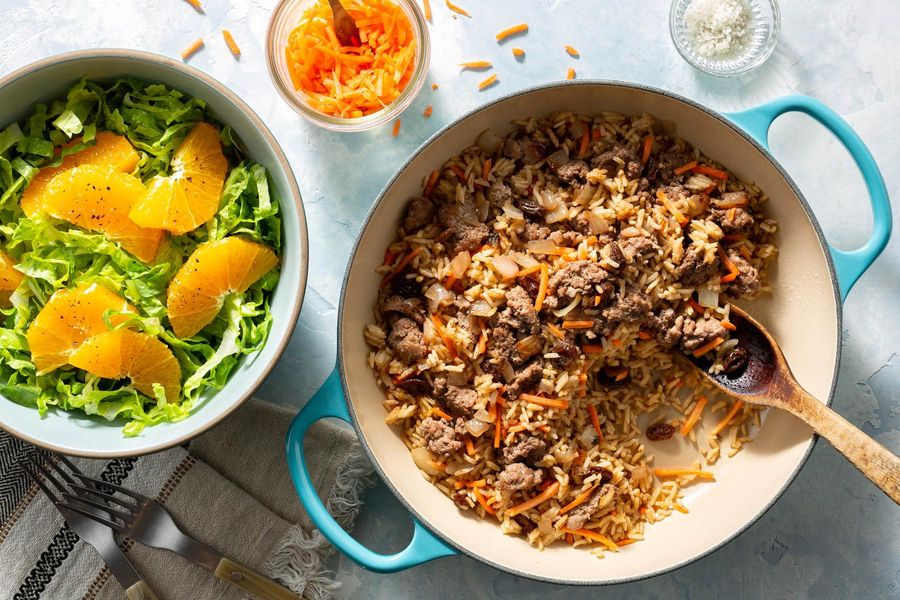 Middle Eastern turkey and rice skillet with orange-romaine salad