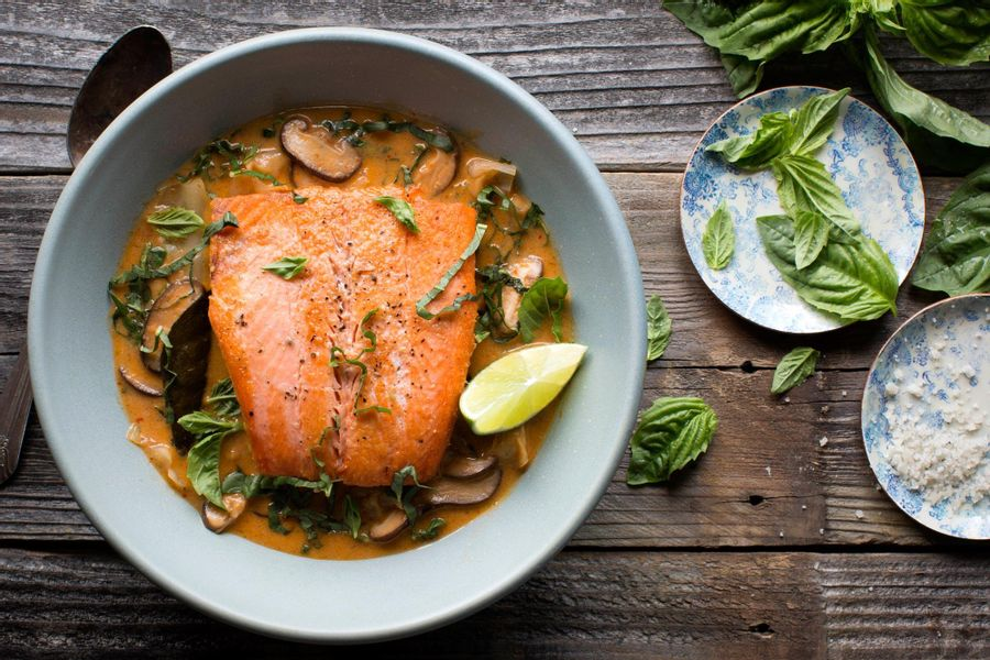 Braised salmon with Thai coconut curry and cabbage