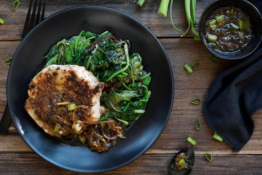 Lemongrass and coriander-crusted pork chops with greens