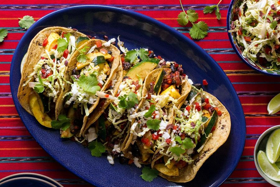 Summer squash and black bean tacos with cabbage–bell pepper slaw