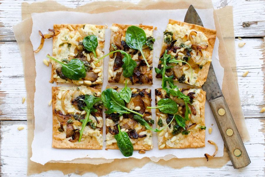 White bean and ricotta flatbreads with basil