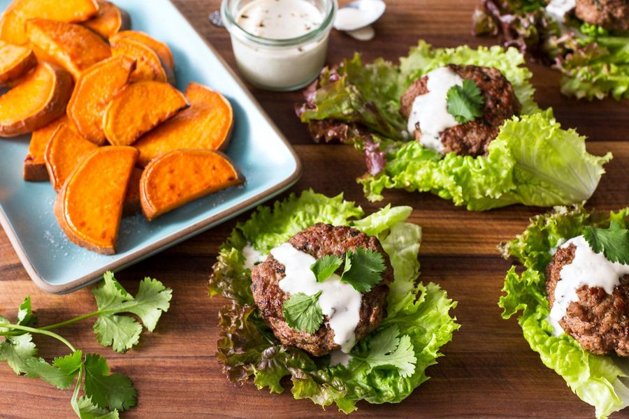 "Lettuce-wrapped lamb sliders with sweet potato ""fries"""