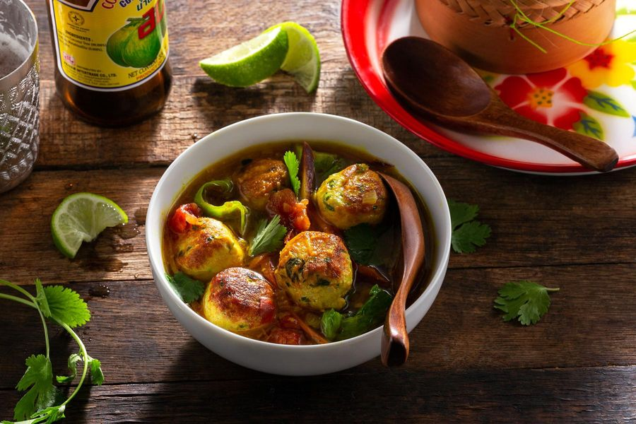 Turkey meatballs and wilted greens in lemongrass broth