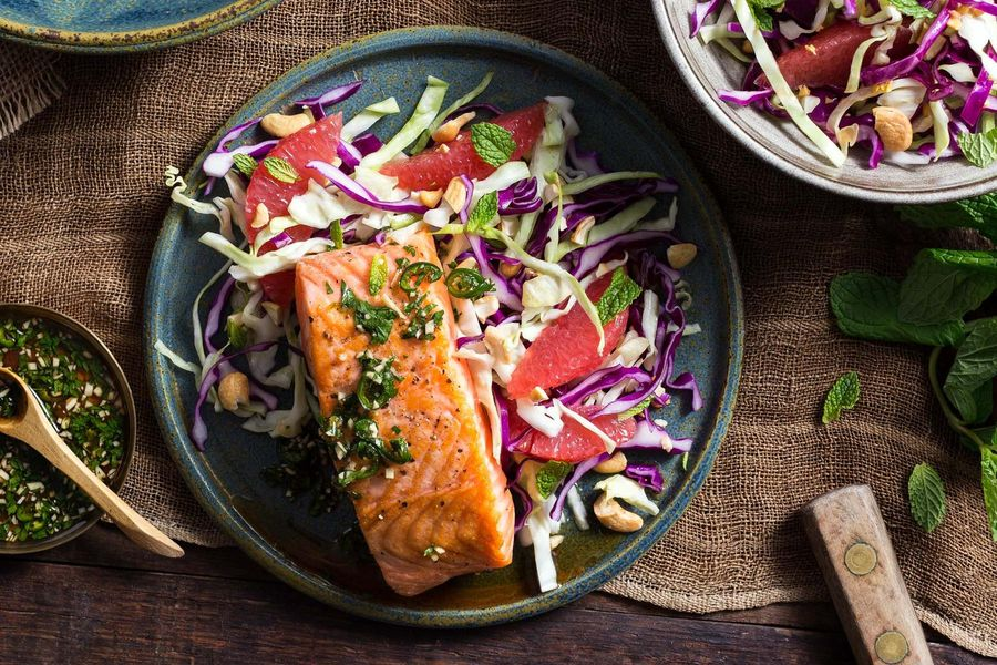 Thai style cod with grapefruit cabbage slaw