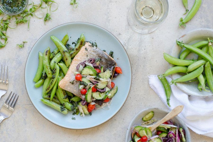 Seared fish and snap peas with Japanese cucumber slaw and mint oil