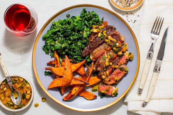 Black Angus steaks and roasted sweet potato with scallion-ginger relish