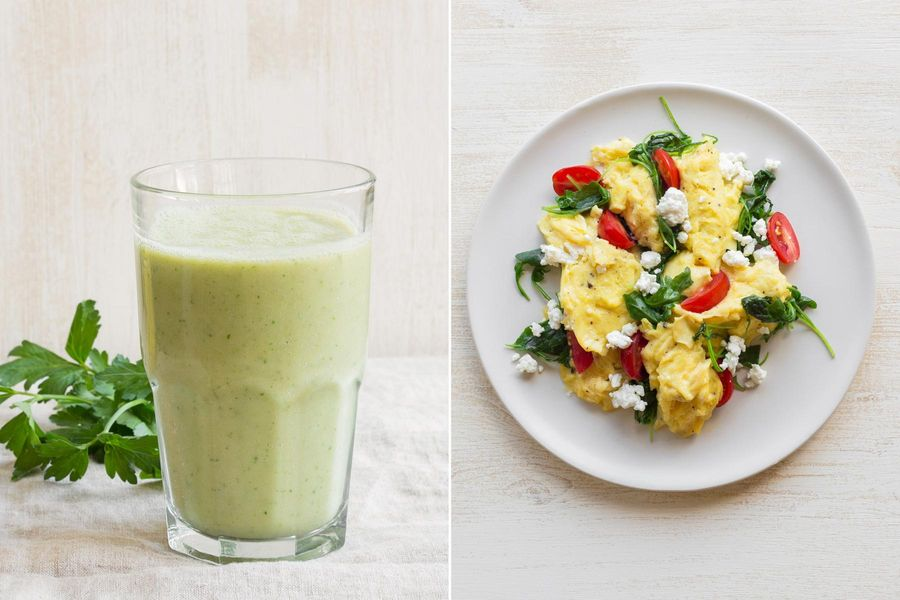 Pineapple-cucumber smoothies & Summer scramble