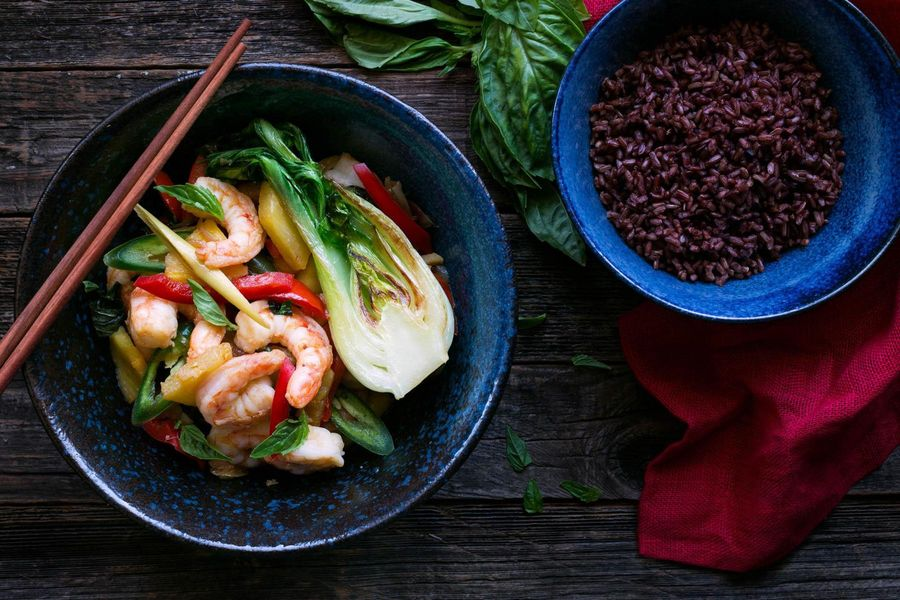 Shrimp and pineapple stir-fry with Bhutan red rice