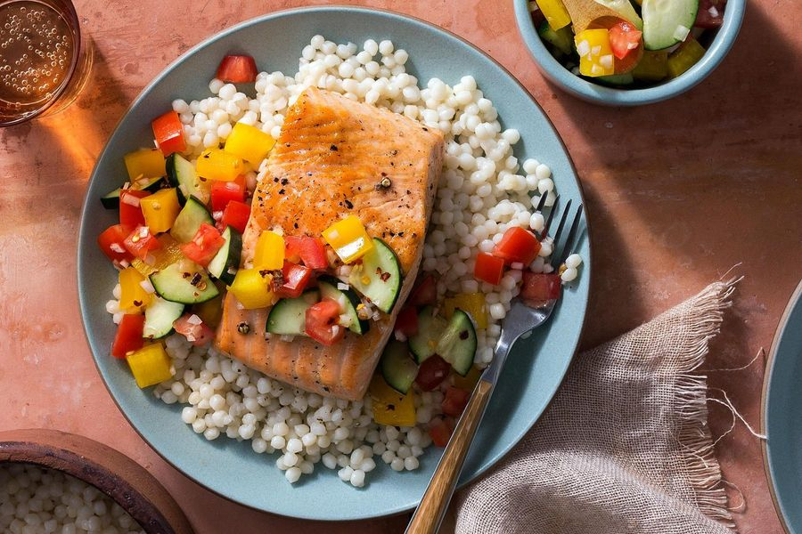 Seared Salmon With Pearl Couscous And Salsa Fresca