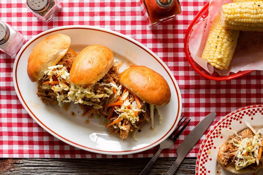 North Carolina pulled pork sliders with corn on the cob