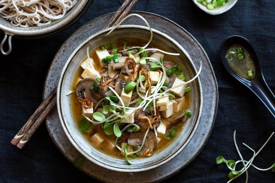 Tofu and soba noodles in a miso-ginger broth