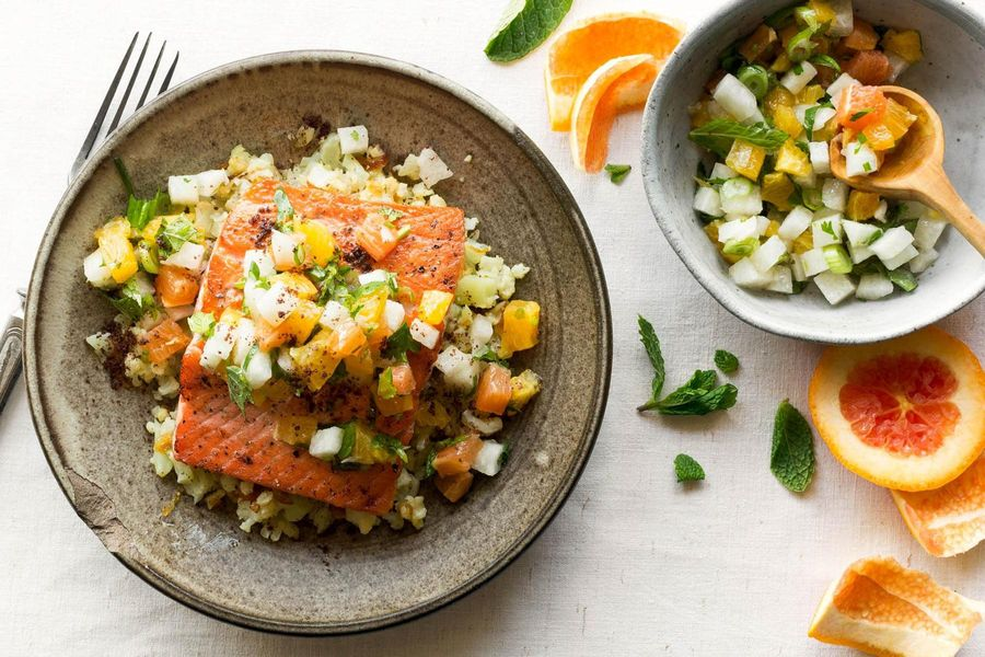 Pan-seared salmon with orange-jicama salad