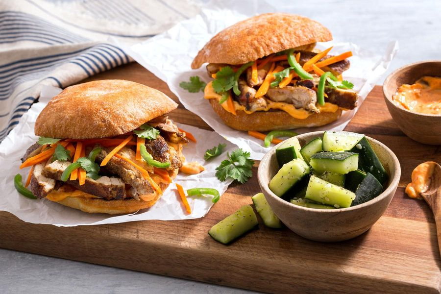 Chicken banh mi with garlicky-smashed cucumbers