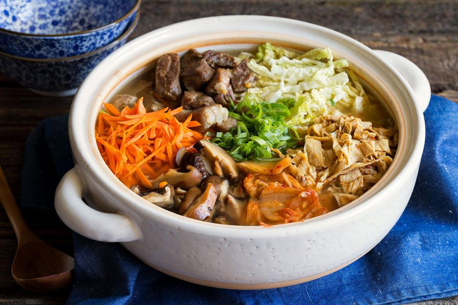 Pork and shiitake nabe hot pot with yuba noodles
