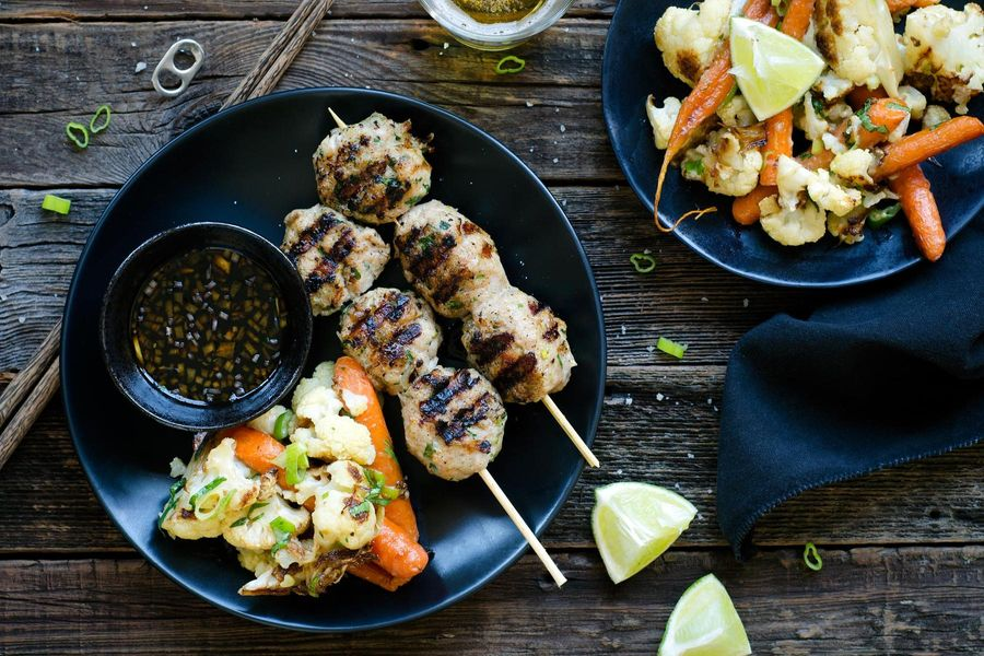 Yakitori chicken meatballs with roasted cauliflower and carrots