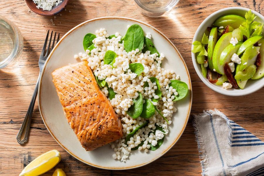 Roasted salmon with pearl couscous and date-apple salad