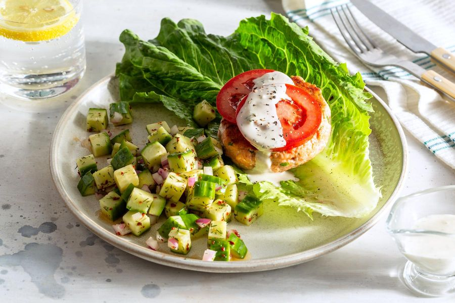 Lettuce-wrapped salmon burgers with lemon-dill aioli