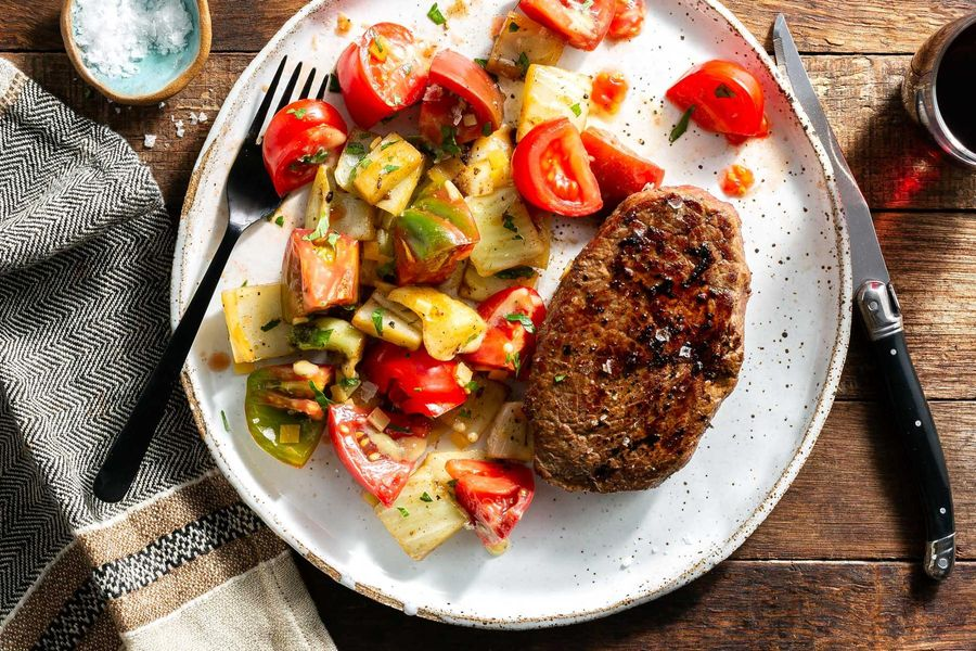 Palermo steaks with warm fennel and tomato salad