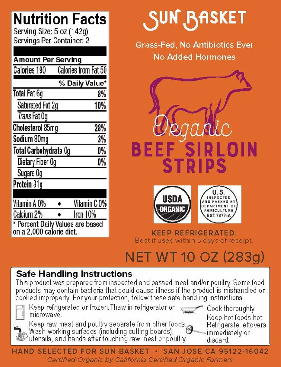 Organic top sirloin steak strips Nutrition