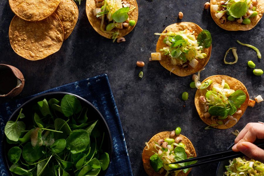 Black-eyed pea tostadas with shichimi cabbage and watercress salad