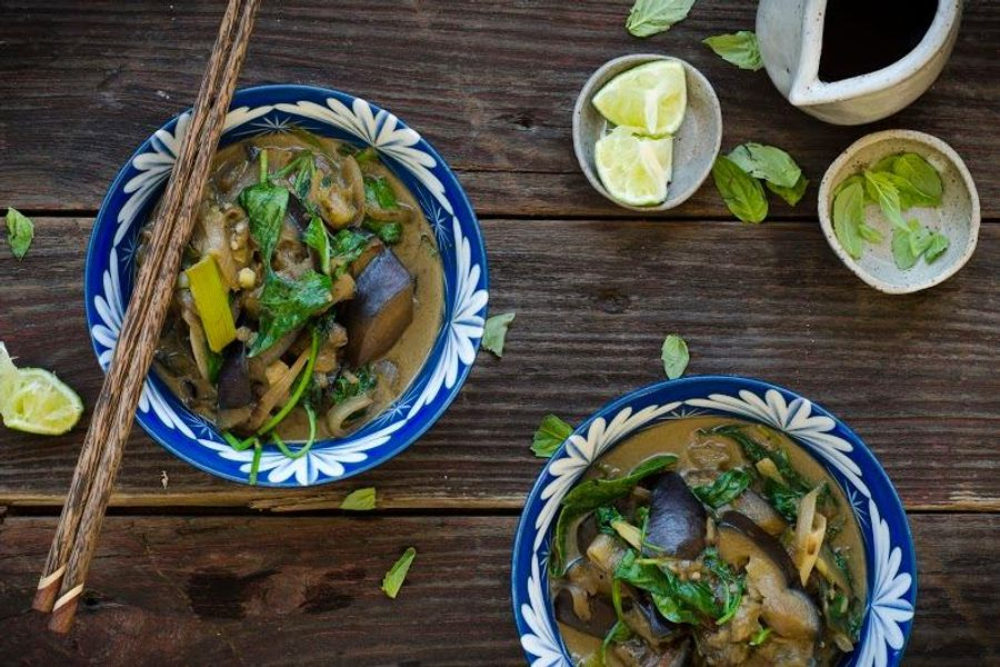 Braised Japanese eggplant with coconut milk and spinach