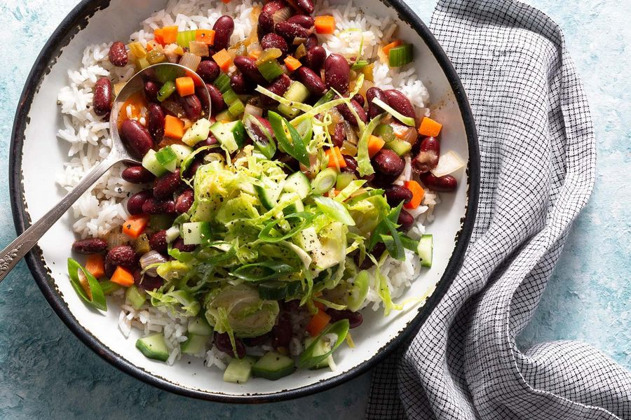 Spicy red beans and rice with Brussels sprout salad