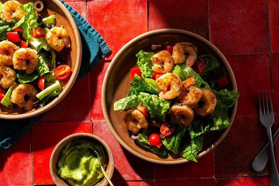 Texas shrimp salad with guacamole
