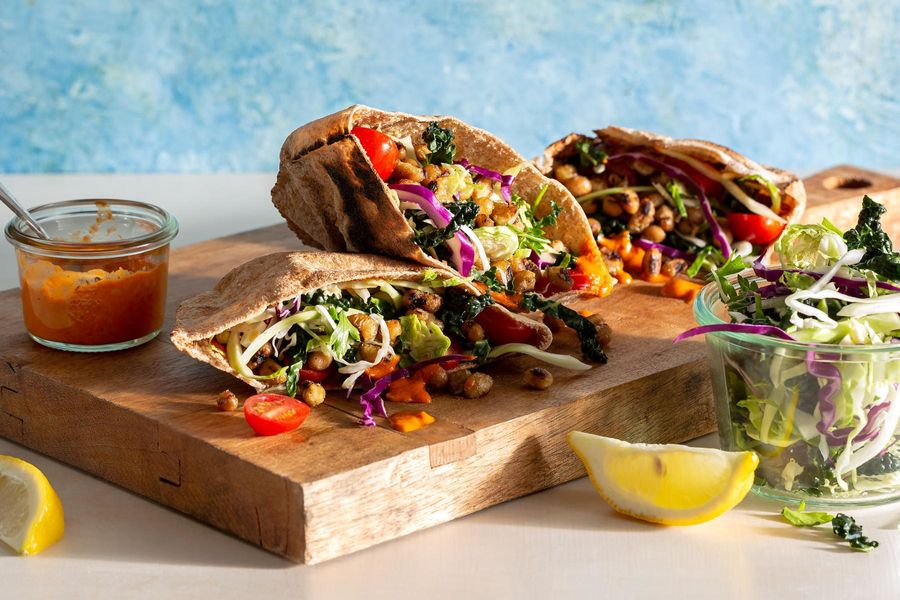 Black-eyed pea pitas with crunchy salad and red pepper baba ganoush