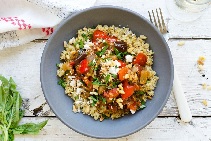 Ratatouille with freekeh and ricotta salata
