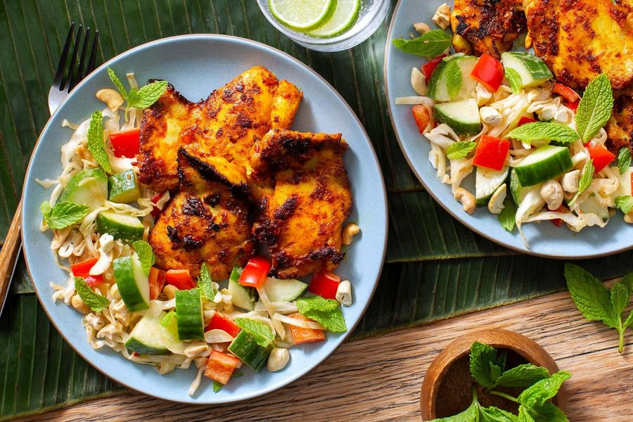 Spicy Balinese chicken with cucumber-cabbage salad